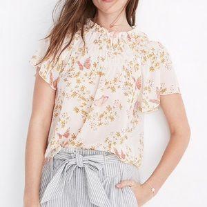 Madewell NWT 2019 smocked mockneck butterfly top🦋